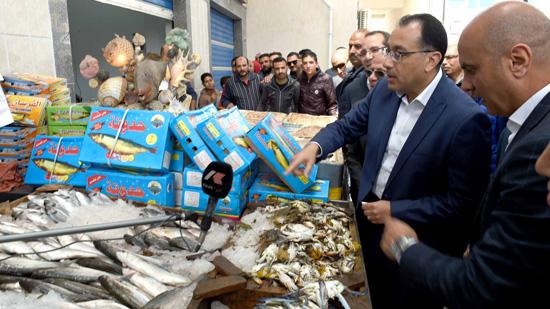 رئيس الوزراء يتفقد سوق السمك في بورسعيد